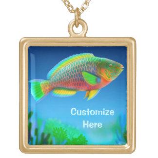 カスタマイズ可能なIndoの太平洋のParrotfishのネックレス ゴールドプレートネックレス