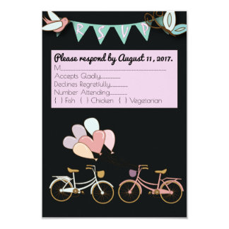 カスタマイズ可能なRSVPカードを結婚するタンデム自転車 カード