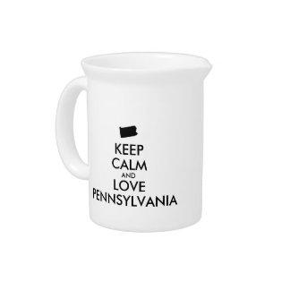 カスタマイズ可能平静および愛ペンシルバニアを保って下さい ピッチャー
