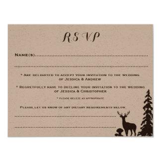 カスタマイズ森林ブラウンクラフトRSVPカードを結婚します カード
