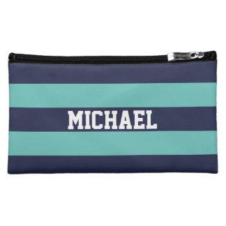 カスタマイズ濃紺のターコイズは縞で飾ります コスメティックバッグ