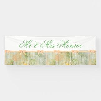 カスタマイズ素朴な花の木製の結婚式の旗 横断幕