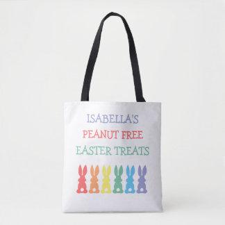 カスタマイズ虹のバニーの食物アレルギー警報 トートバッグ