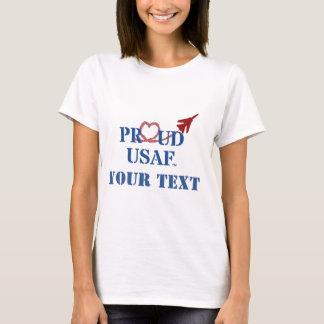 カスタマイズ誇りを持ったなUSAF -ハートの蒸気が付いているジェット機 Tシャツ