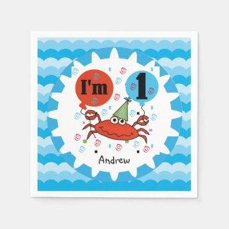 カスタマイズ赤いカニの第1誕生日の紙ナプキン スタンダードカクテルナプキン