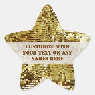カスタマイズ金ゴールドのスパンコールの星のステッカー 星型シール