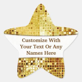 カスタマイズ金ゴールドのスパンコールの星のステッカー 星形シールステッカー