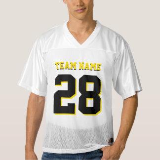 カスタマイズ黒くおよび黄色のフットボールはジャージーを遊ばします メンズフットボールジャージー