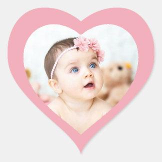 カスタムでかわいいピンクのハート形のベビーの写真のステッカー ハートシール