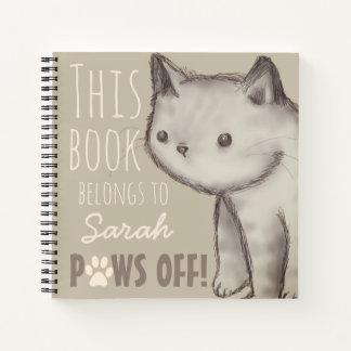カスタムでかわいい猫のイラストレーションの足 ノートブック