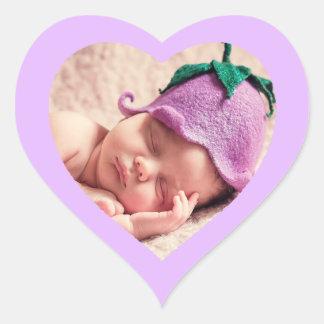 カスタムでかわいい紫色のハート形のベビーの写真のステッカー ハートシール