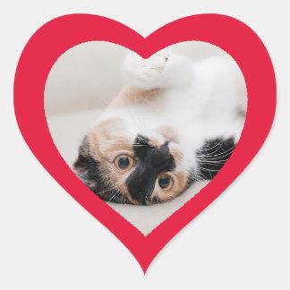 カスタムでかわいくおもしろいなハート形猫の写真のステッカー ハートシール