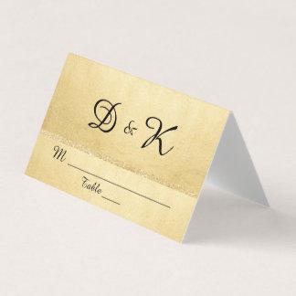 カスタムでエレガントなモノグラムの金ゴールドのグリッターの結婚式 プレイスカード