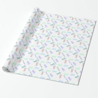 カスタムでカラフルなトカゲの誕生日の包装紙 ラッピングペーパー