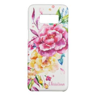 カスタムでガーリーでシックなピンクのかわいらしい水彩画の花柄 Case-Mate SAMSUNG GALAXY S8ケース