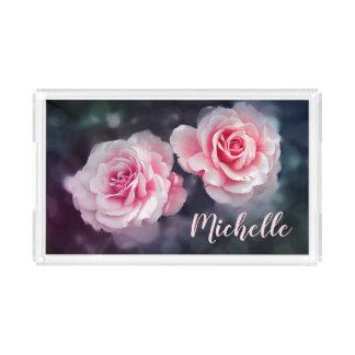 カスタムでガーリーなピンクのバラの花柄の写真 アクリルトレー