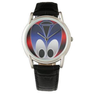 カスタムでクラシックで黒い革腕時計エイリアンの虫 腕時計