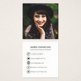 カスタムでシンプルな写真社会的な媒体の名刺 スクエア名刺