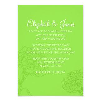 カスタムでモダンなライムグリーンの結婚式招待状 カード