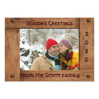 カスタムで厚い木の休日の挨拶状 カード