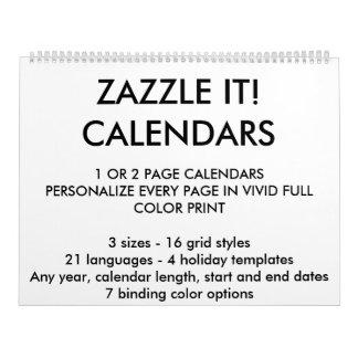カスタムで名前入りなカレンダーのブランクのテンプレート カレンダー