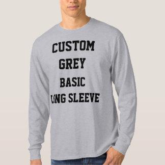 カスタムで名前入りなメンズ灰色の長袖のTシャツ Tシャツ