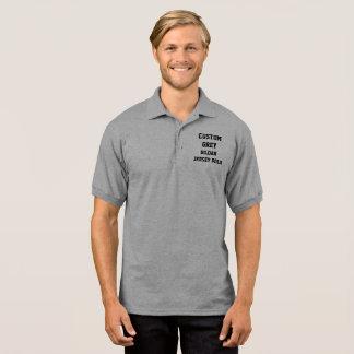 カスタムで名前入りな人の灰色のジャージーのポロシャツ ポロシャツ