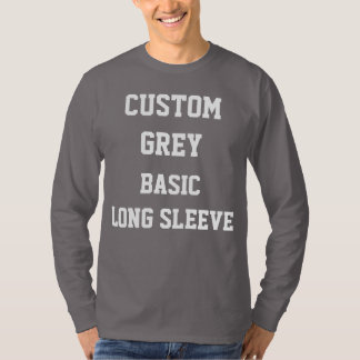 カスタムで名前入りな人の灰色の長袖のTシャツ Tシャツ