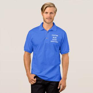 カスタムで名前入りな人の青いジャージーのポロシャツ ポロシャツ