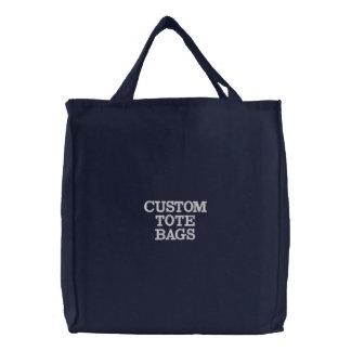 カスタムで名前入りな刺繍されたトートバックのテンプレート 刺繍入りトートバッグ