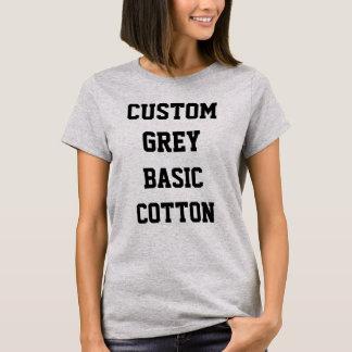 カスタムで名前入りな女性のBASICの灰色のTシャツ Tシャツ