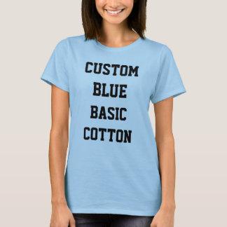 カスタムで名前入りな女性のBASICの青のTシャツ Tシャツ