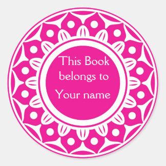 カスタムで名前入りな蔵書票-ピンクおよび白 ラウンドシール