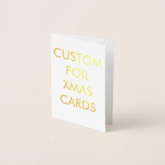 カスタムで名前入りな金ゴールドホイルのクリスマスカード 箔カード