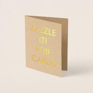 カスタムで名前入りな金ゴールドホイルの挨拶状 箔カード