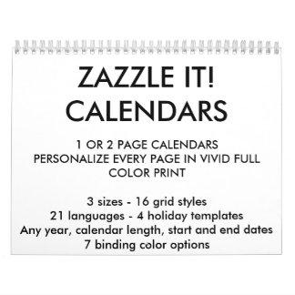 """カスタムで名前入りな2ページ8.5"""" x 11""""カレンダー カレンダー"""