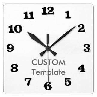 """カスタムで大きい10.75""""正方形の柱時計のステーキのフォント スクエア壁時計"""