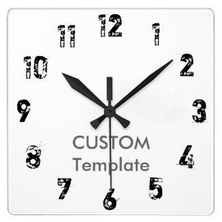 """カスタムで大きい10.75""""正方形の柱時計の近道 スクエア壁時計"""