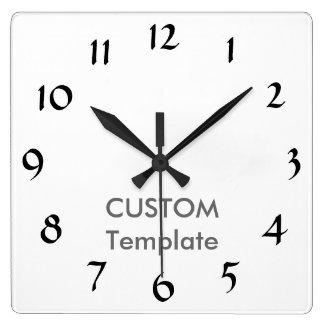 """カスタムで大きい10.75""""正方形の柱時計DEMI TASSE B スクエア壁時計"""