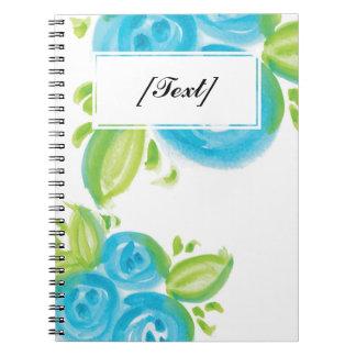 カスタムで大きく青いバラ ノートブック