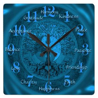 カスタムで感動的な単語の陰陽 スクエア壁時計