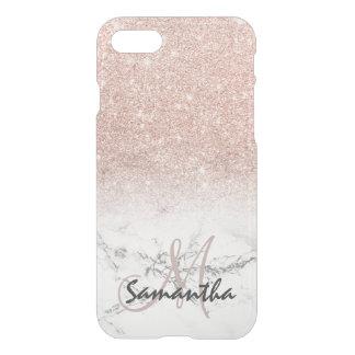 カスタムで模造のなローズピンクのグリッターのグラデーションで白い大理石 iPhone 8/7 ケース