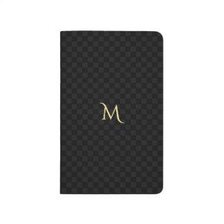 カスタムで模造のな金ゴールドのモノグラムの黒の灰色の点検パターン ポケットジャーナル
