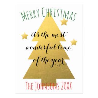 カスタムで模造のな金ゴールドの星のクリスマスツリー ポストカード