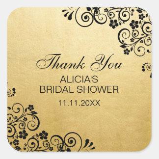 カスタムで模造のな金ゴールドホイルのブライダルシャワーは感謝していしています スクエアシール