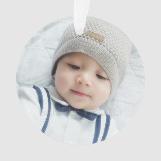 カスタムで生まれたばかりのなベビーの写真との誕生の発表 オーナメント