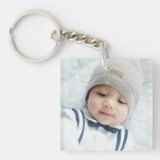 カスタムで生まれたばかりのなベビーの写真との誕生の発表 キーホルダー