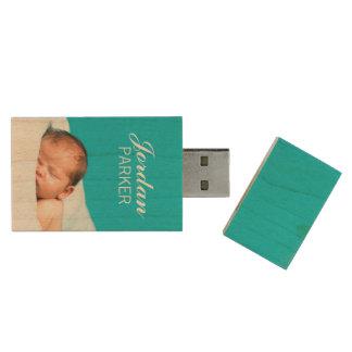 カスタムで生まれたばかりのな写真のモノグラムUSBのフラッシュドライブ 木製 USB メモリ