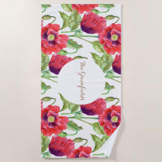 カスタムで赤いケシの花柄のイラストレーション ビーチタオル