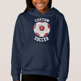 カスタムで赤いサッカーボールの女の子のフード付きスウェットシャツのスエットシャツ